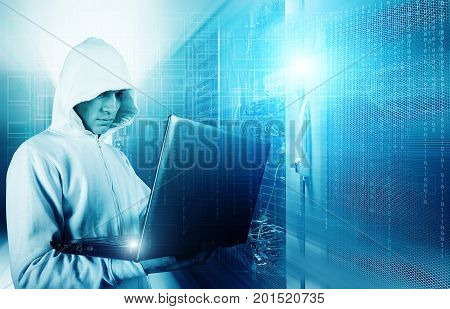 Hacker using laptop to steal identity against abstract glowing background