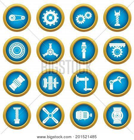 Techno mechanisms kit icons blue circle set isolated on white for digital marketing