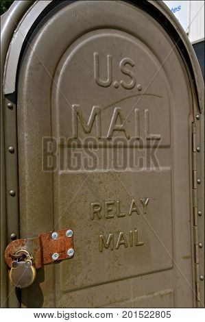 COMSTOCK, MINNESOTA, August 1, 2017: The old vintage U.S. Mail relay box is owned and used by the USPS(United State Postal System).