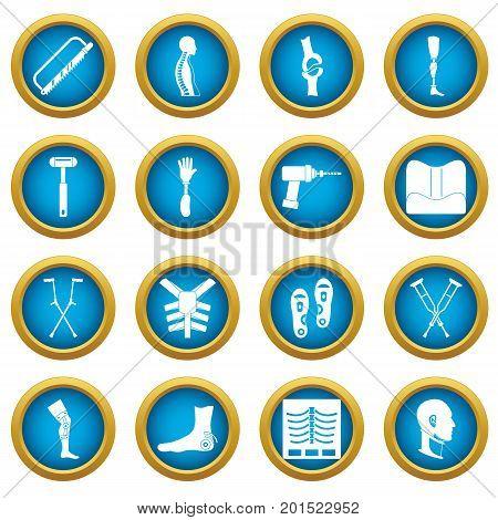 Orthopedics prosthetics icons blue circle set isolated on white for digital marketing