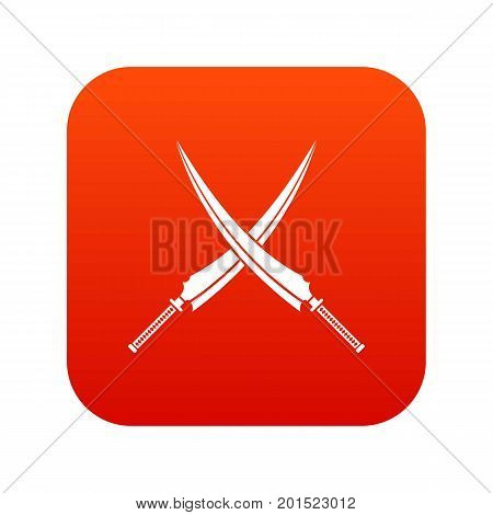 Samurai swords icon digital red for any design isolated on white vector illustration