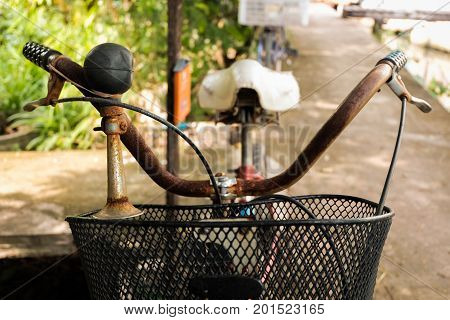 Detail of a vintage handlebar of bicycle.