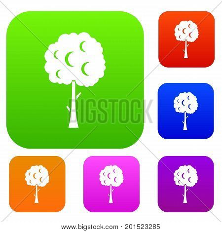 Tree with spherical crown set icon in different colors isolated vector illustration. Premium collection