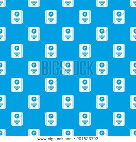 Parking fee pattern repeat seamless in blue color for any design. Vector geometric illustration
