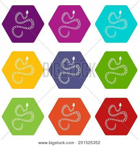 White striped snake icon set many color hexahedron isolated on white vector illustration