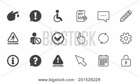 Caution and attention icons. Question mark and information signs. Injury and disabled person symbols. Chat, Report and Calendar line signs. Service, Pencil and Locker icons. Click, Rotation and Cursor