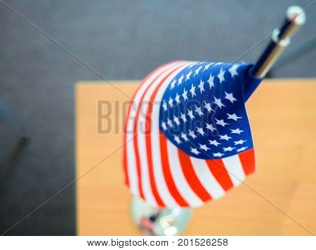 American Flag On The Table, Part Overexposed And Blurry, The Independence Of America, The Great Powe