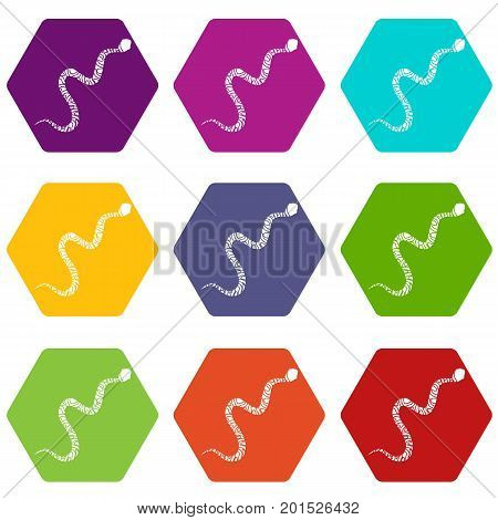 Snake wriggling icon set many color hexahedron isolated on white vector illustration