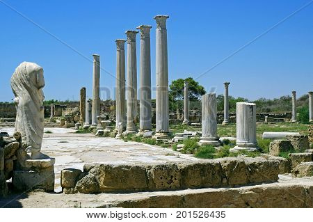 Romans ruins of the city of Salamis, near Famagusta, Northern Cyprus.