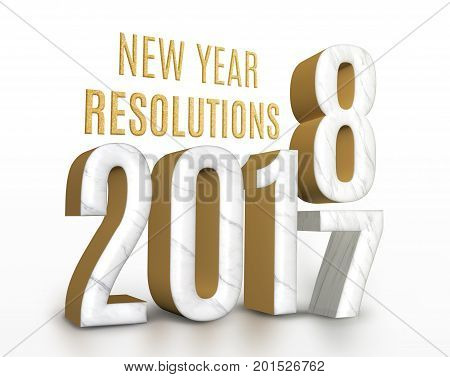 New Year Resolution 2017 Marble And Gold Texture Number Change To 2018 New Year In White Studio Room