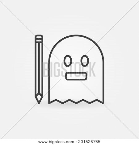 Ghost with pencil linear icon. Vector ghost writing concept symbol in thin line style