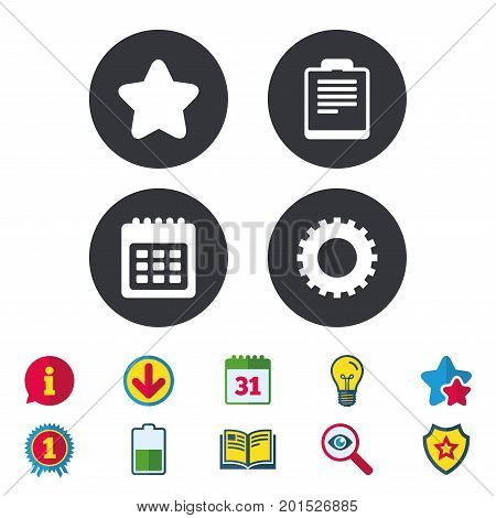 Calendar and Star favorite icons. Checklist and cogwheel gear sign symbols. Calendar, Information and Download signs. Stars, Award and Book icons. Light bulb, Shield and Search. Vector