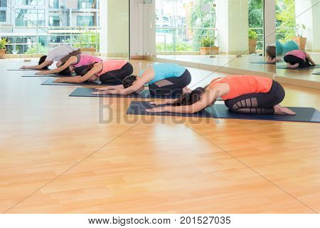 group of people doing yoga child's poses in studio training room,Balasana poses,wellness and healthy lifestyle