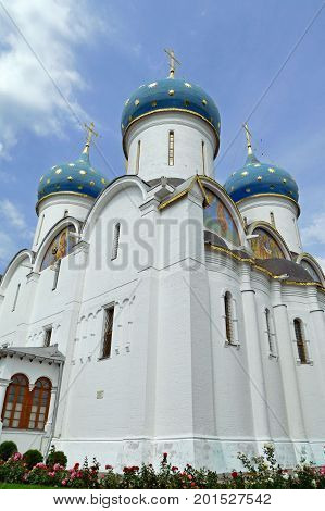 Beautiful view of assumption Cathedral in Sergiev Posad, RUSSIA.