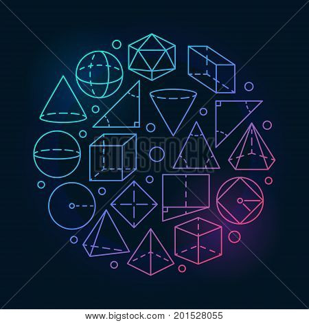 Geometry mathematics colorful illustration. Vector concept round math symbol made with geometric shapes in thin line style on dark background