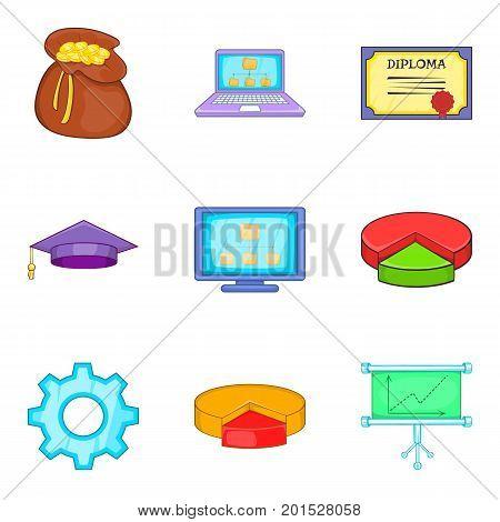 Survey icons set. Cartoon set of 9 survey vector icons for web isolated on white background