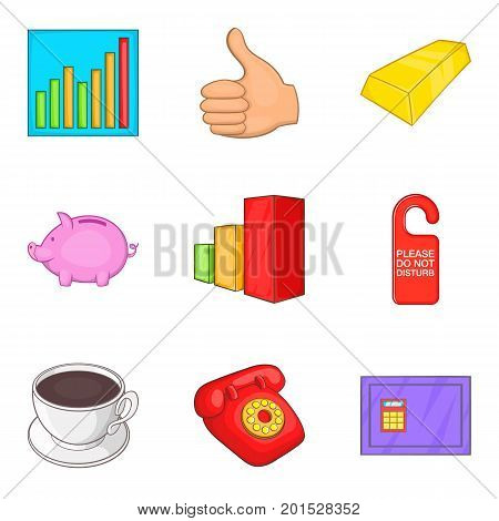 Inventory icons set. Cartoon set of 9 inventory vector icons for web isolated on white background