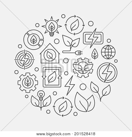 Bioenergy circular outline illustration. Vector renewable energy concept symbol made with thin line icons