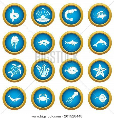 Sea animals icons blue circle set isolated on white for digital marketing