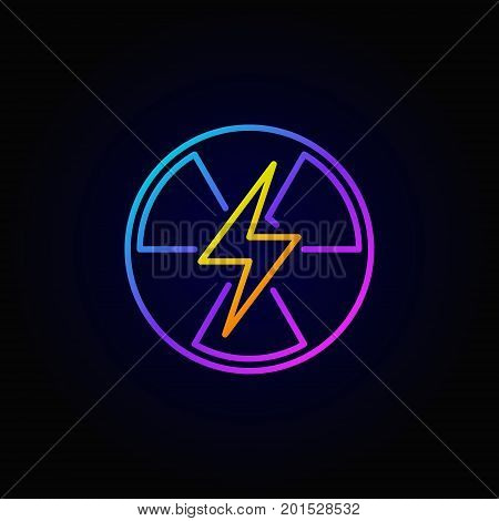 Nuclear power colorful icon - vector outline energy sign or logo element on dark background