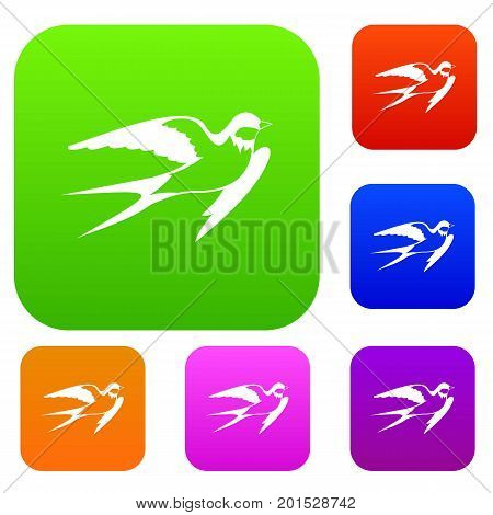 Barn swallow set icon in different colors isolated vector illustration. Premium collection