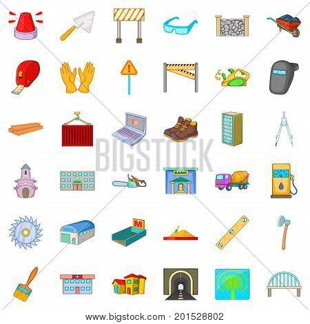 Wheelbarrow icons set. Cartoon style of 36 wheelbarrow vector icons for web isolated on white background