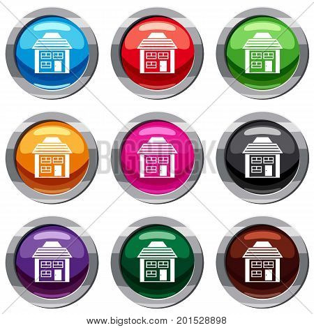 Two-storey house with sloping roof set icon isolated on white. 9 icon collection vector illustration