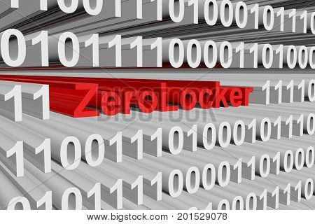 ZeroLocker in the form of binary code, 3D illustration