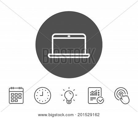 Laptop computer icon. Notebook sign. Portable personal computer symbol. Report, Clock and Calendar line signs. Light bulb and Click icons. Editable stroke. Vector