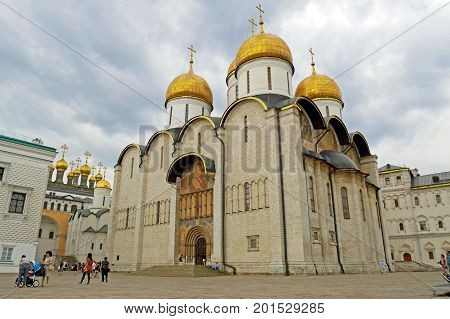MOSCOW, RUSSIA - JULY 30, 2017: The assumption Cathedral on the Cathedral square of the Moscow Kremlin, Russia.