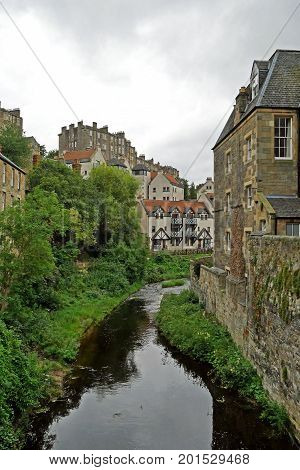 Dean Village along the river Water of Leith in Edinburgh, SCOTLAND.