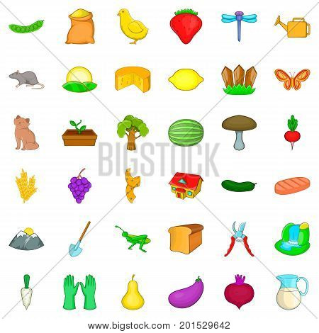 Settlement icons set. Cartoon style of 36 settlement vector icons for web isolated on white background