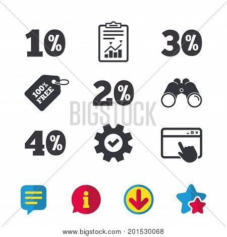 Sale discount icons. Special offer price signs. 10, 20, 30 and 40 percent off reduction symbols. Browser window, Report and Service signs. Binoculars, Information and Download icons. Stars and Chat