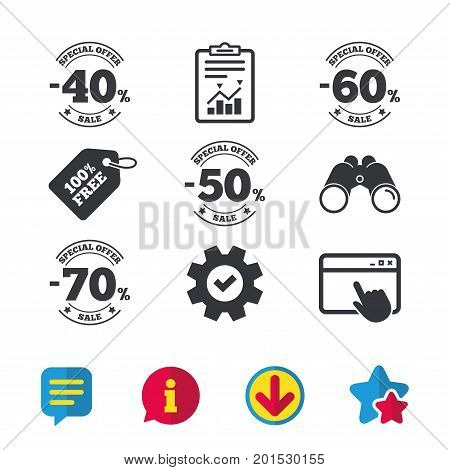 Sale discount icons. Special offer stamp price signs. 40, 50, 60 and 70 percent off reduction symbols. Browser window, Report and Service signs. Binoculars, Information and Download icons. Vector