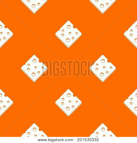Cheese fresh block pattern repeat seamless in orange color for any design. Vector geometric illustration