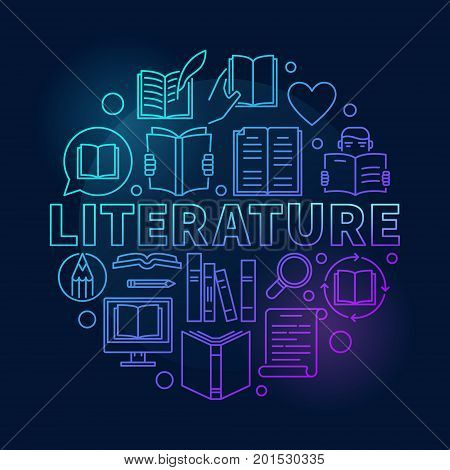 Literature round blue illustration. Vector circular reading concept symbol made with linear book icons on dark background