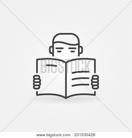 Reading vector icon - man reading a book concept symbol in thin line style
