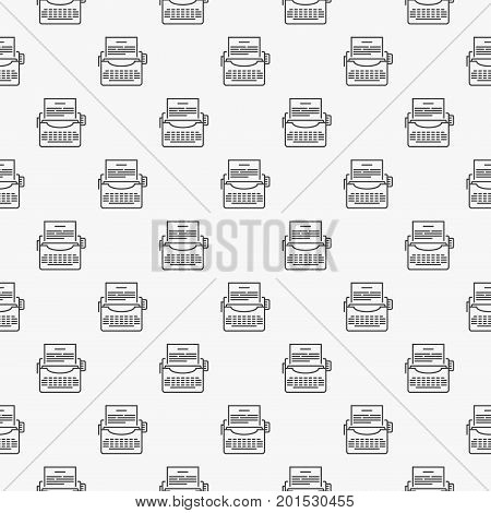 Typewriter vector seamless minimal pattern made with thin line typewriter icons