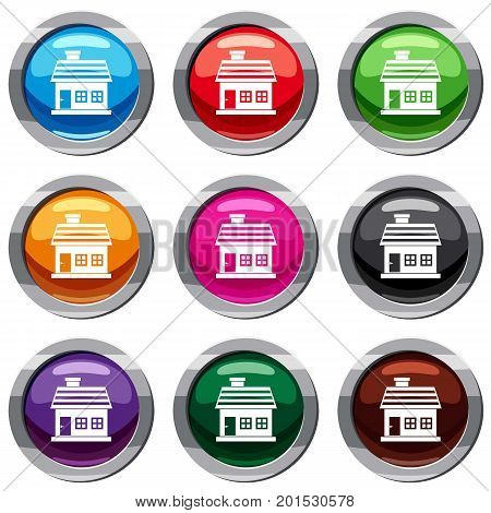 One-storey house set icon isolated on white. 9 icon collection vector illustration