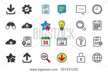 Download now icon. Upload from cloud symbols. Receive data from a remote storage signs. Chat, Report and Calendar signs. Stars, Statistics and Download icons. Question, Clock and Globe. Vector