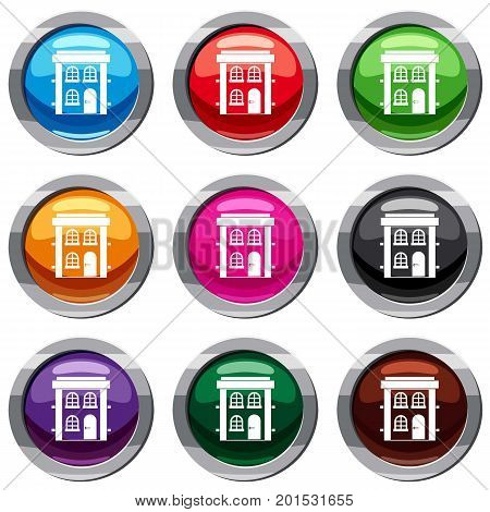 Two-storey residential house set icon isolated on white. 9 icon collection vector illustration