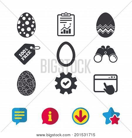 Easter eggs icons. Circles and floral patterns symbols. Tradition Pasch signs. Browser window, Report and Service signs. Binoculars, Information and Download icons. Stars and Chat. Vector