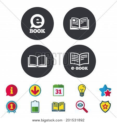 Electronic book icons. E-Book symbols. Speech bubble sign. Calendar, Information and Download signs. Stars, Award and Book icons. Light bulb, Shield and Search. Vector