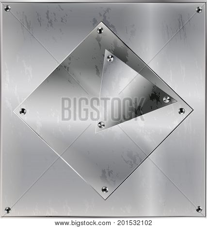 iron background, metal stylized sheet with geometric figure square, triangle and holes