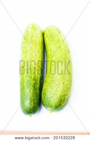 Close up cucumber isolated on white background