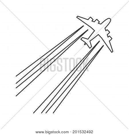 Black outline isolated airplane with jet contrail on white background. Line View from above of aeroplane with trail