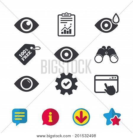 Eye icons. Water drops in the eye symbols. Red eye effect signs. Browser window, Report and Service signs. Binoculars, Information and Download icons. Stars and Chat. Vector