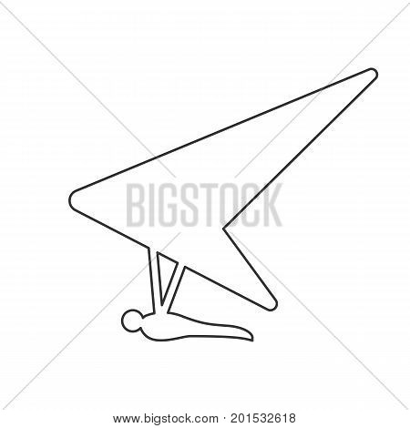 Black outline icon of hang glider on white background. Line Icon of side view of hang-glider