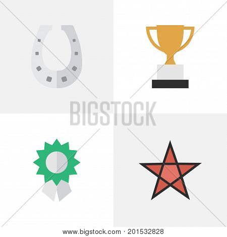 Elements Metal, First, Reward And Other Synonyms Medal, Metal And Horseshoe.  Vector Illustration Set Of Simple Reward Icons.