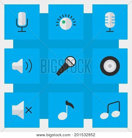 Elements Loudspeaker, Regulator, Microphone And Other Synonyms Music, Volume And Microphone.  Vector Illustration Set Of Simple  Icons.